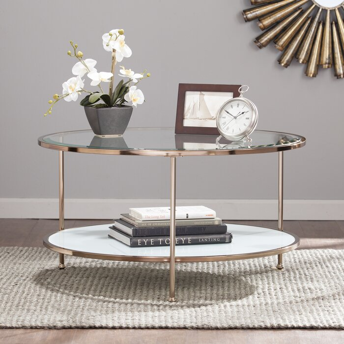 oval coffee table storage
