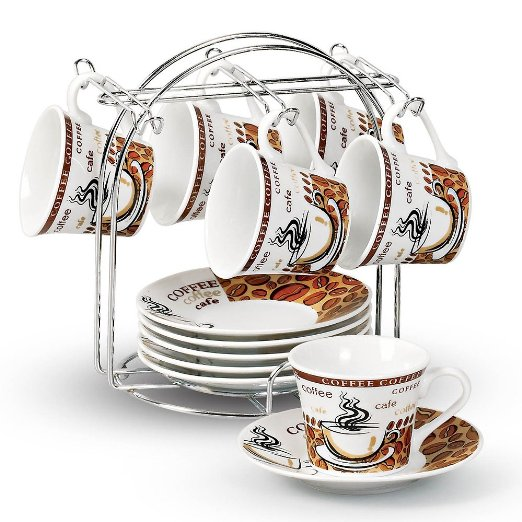 Lorren Home Trends 13-Piece Porcelain Espresso Coffee Cups