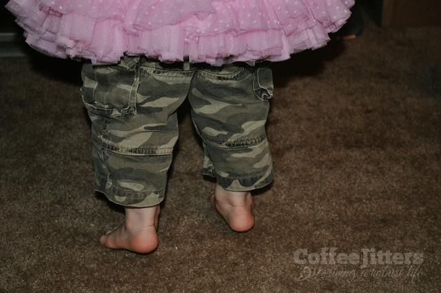 camo pants with pink tutu