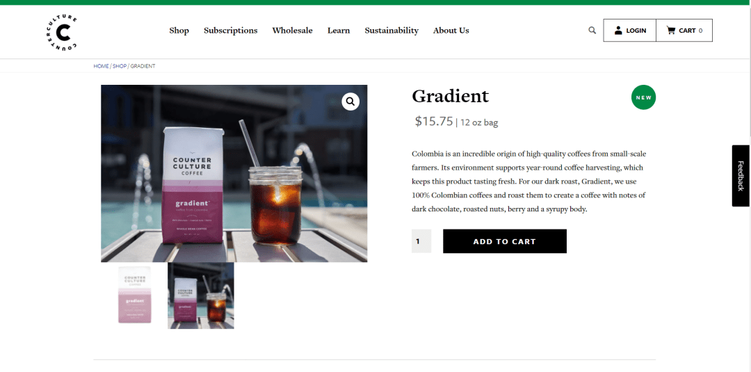 coffee ecommerce product page