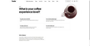 Trade coffee subscription offers a coffee quiz