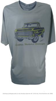 Camiseta com Estampa de Pickup Antiga - C10 Cinza
