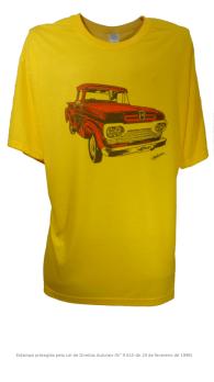 Camiseta com Estampa de Pickup Antiga - F100 Amarela