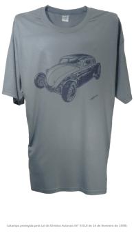 Camiseta com Estampa de Hot Rod - Fusca 1 Cinza