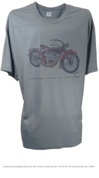 Camiseta com Estampa de Moto Antiga - Indian Cinza