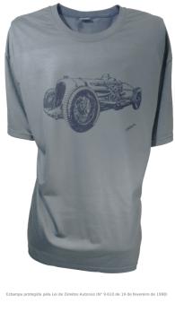 Camiseta com Estampa de Carro de Corrida Antigo - Bentley Napier Railton Cinza