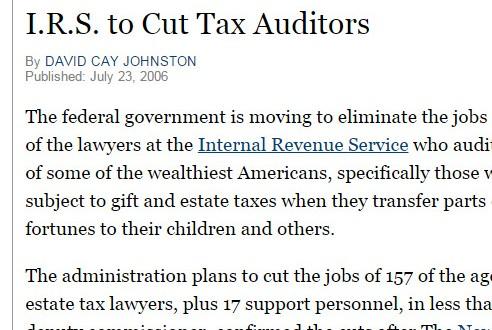 I.R.S. To Cut Tax Auditors – New York Times