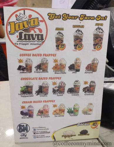 Java Lava menu