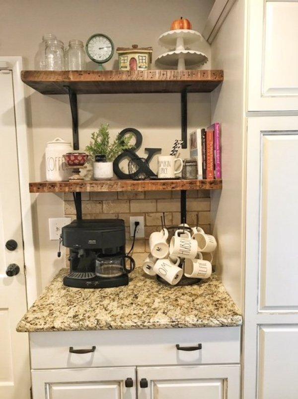 Fall Decor on Farmhouse Shelves