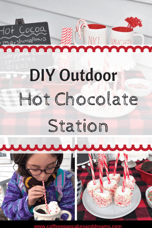 How to create an outdoor hot cocoa station #hotchocolate #cocoastation #diy #kids #winteractvities