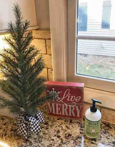 farmhouse kitchen christmas decor i am totally obsessed with the mrs meyers pine scent hand soap it smells heavenly
