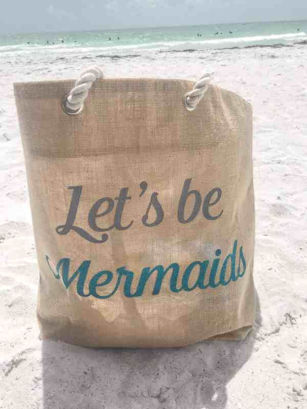 Let's Be Mermaids Straw Beach Tote