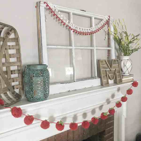 Early Fall Mantel with Apple Pom Garland #target #backtoschool #farmhouse