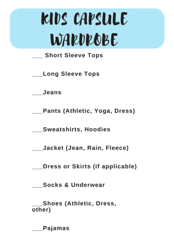 Kids Capsule Wardrobe Checklist #printable #backtoschool #shopping