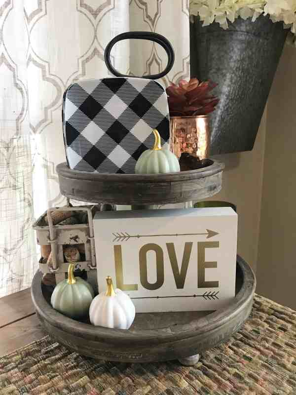 Fall Tiered Tray Inspiration #falldecor #farmhousedecor#tieredtray