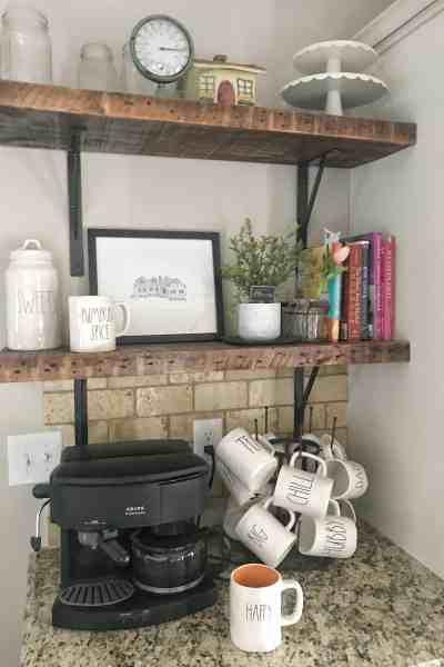 Farmhouse Shelves in Kitchen #raedunn #woodshelves #farmhousestyle #modernfarmhouse