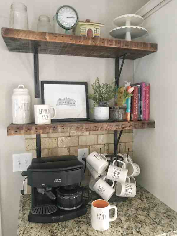 Farmhouse Shelves in Kitchen #raedunn #woodshelves #farmhousestyle #modernfarmhouse