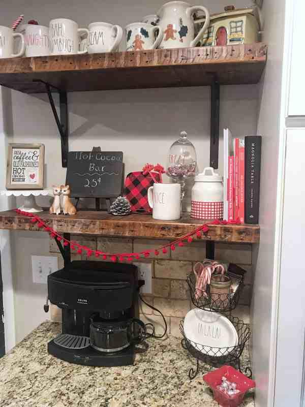 Hot Cocoa Bar Inspiration #hotchocolate #rustic #farmhouseshelves #winterdecor