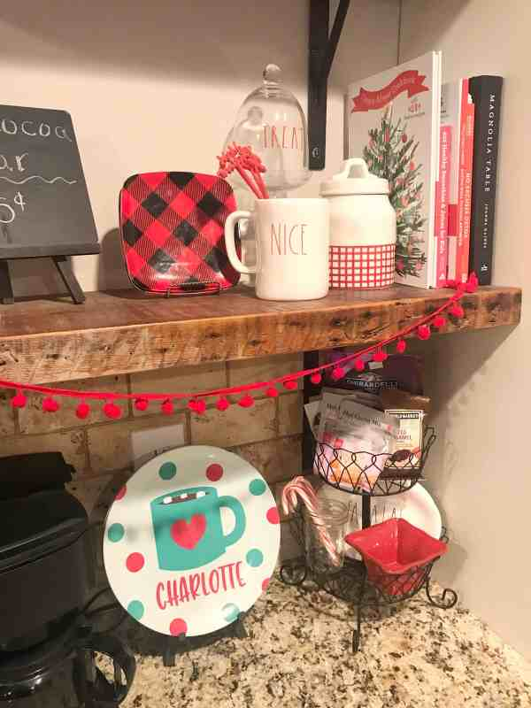 Hot Cocoa Station Inspiration #personalizedplates #tieredbaskets #hotchocolate
