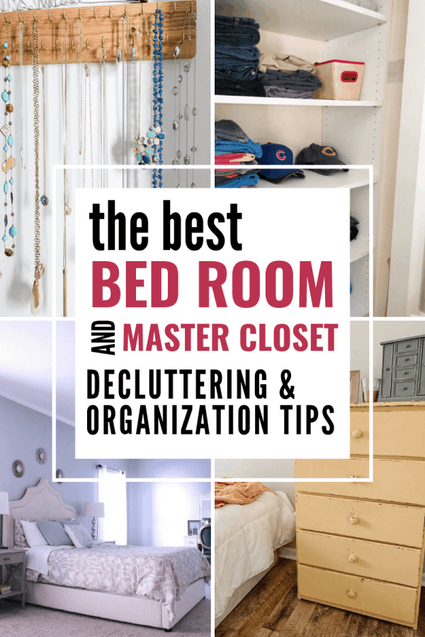 Four bloggers share their best tips for decluttering bedrooms and closets #closetorganization #decluttering #konmari