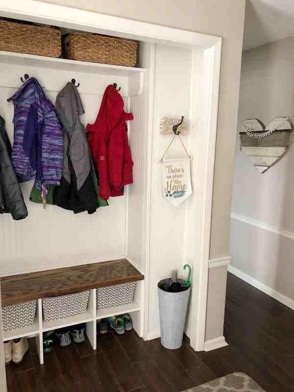 Small Entryway Ideas #coatcloset #mudroom #mudcloset #closetturnedmudroom