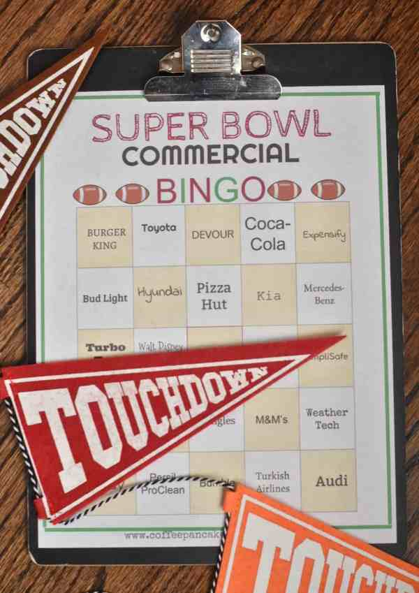 2019 Super Bowl Commerical Bingo Cards #freedownload #printable #superbowlbingo