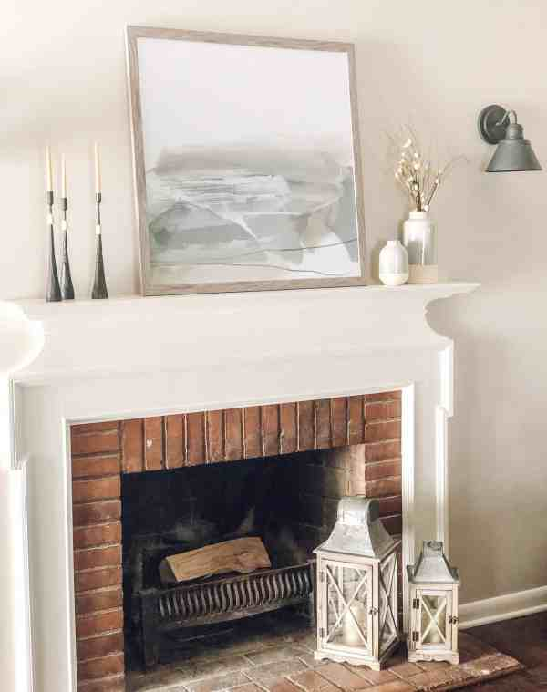 Modern Farmhouse Fireplace Mantle #neutral #rustic #fixerupper #decorideas