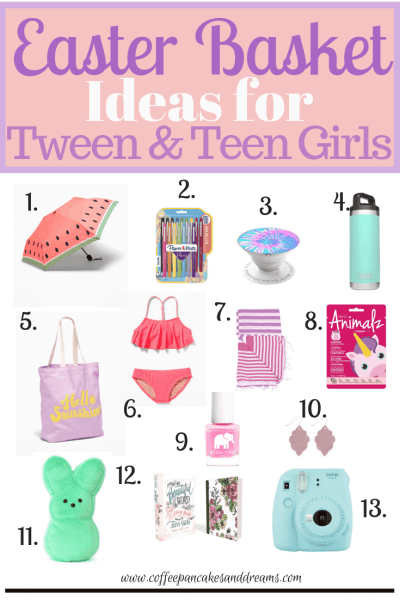 Easter basket ideas for tween and teen girls #ideas #themes #easterbasket #tweens #giftideas