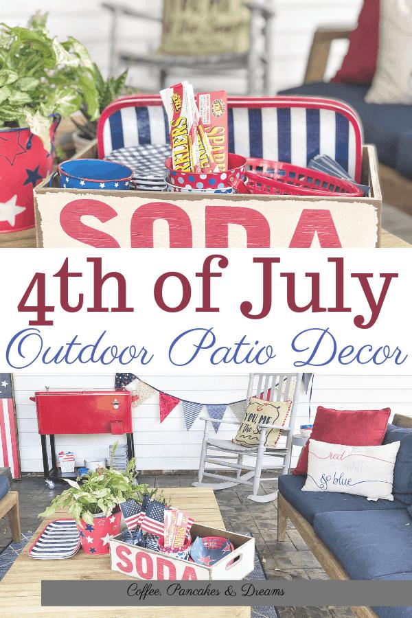 July 4th Outdoor Decor Ideas #redwhiteblue #entertaining #party #independanceday