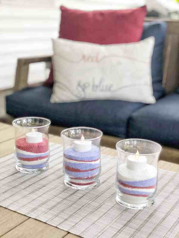 4th of July Decor Centerpiece #dollarstore #outdoor #homemade #diy