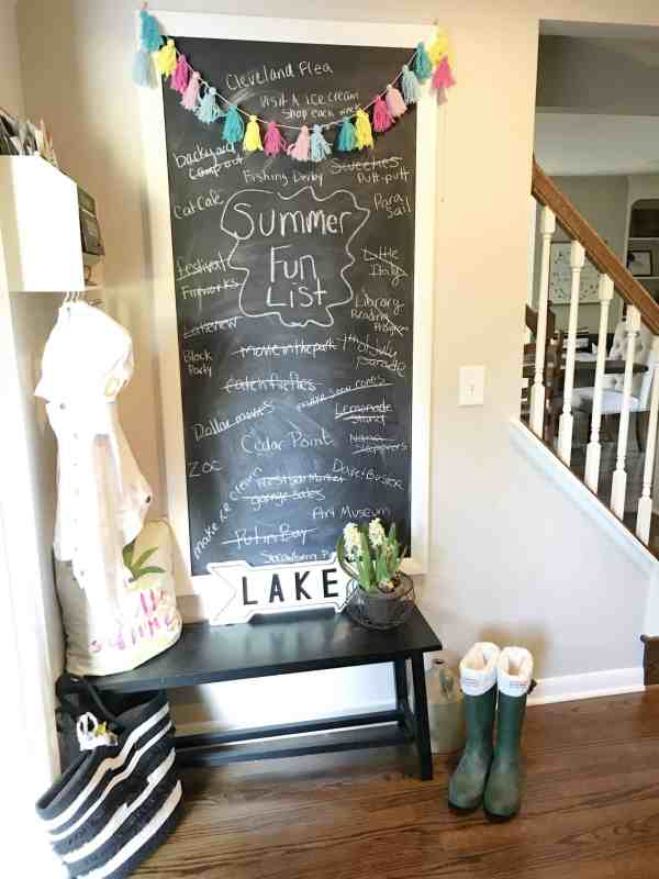 Make a chalkboard with all of your summer bucket list activities #chalkboardwall #summerdecor #farmhouse