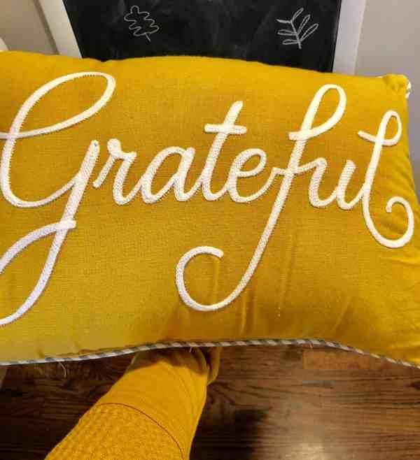 Yellow Grateful Pillow #falldecor #inexpensive #farmhouse