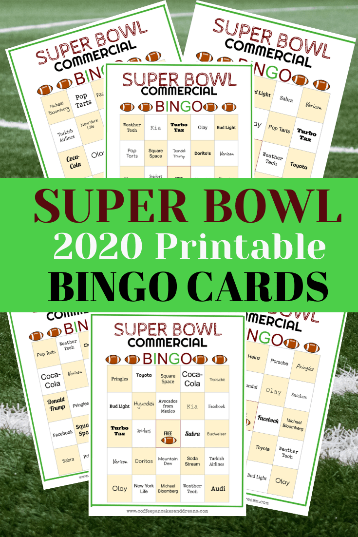 Super bowl bingo game #2020 #printables #superbowl #biggame