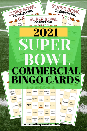 2021 Super Bowl Commercial Bingo Cards #biggame #superbowl55 #bingogame #football