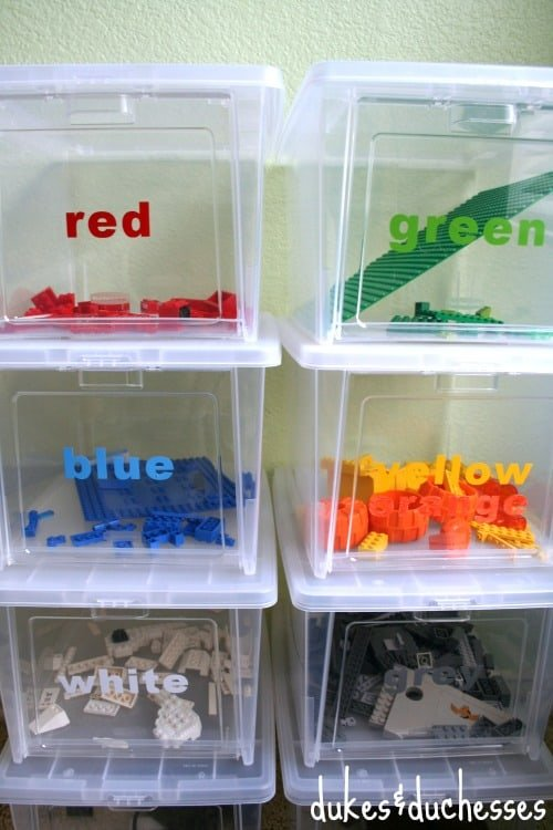 how to organize legos by color