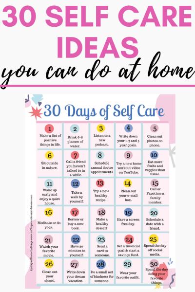 30 Days of Self Care Tips to do at home