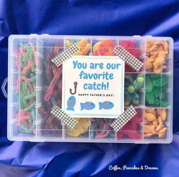 Father's Day Candy Tackle Box Gift Idea with Printable Gift Tag