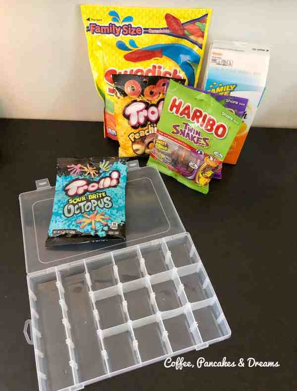 how to make a candy tackle box for Father's Day