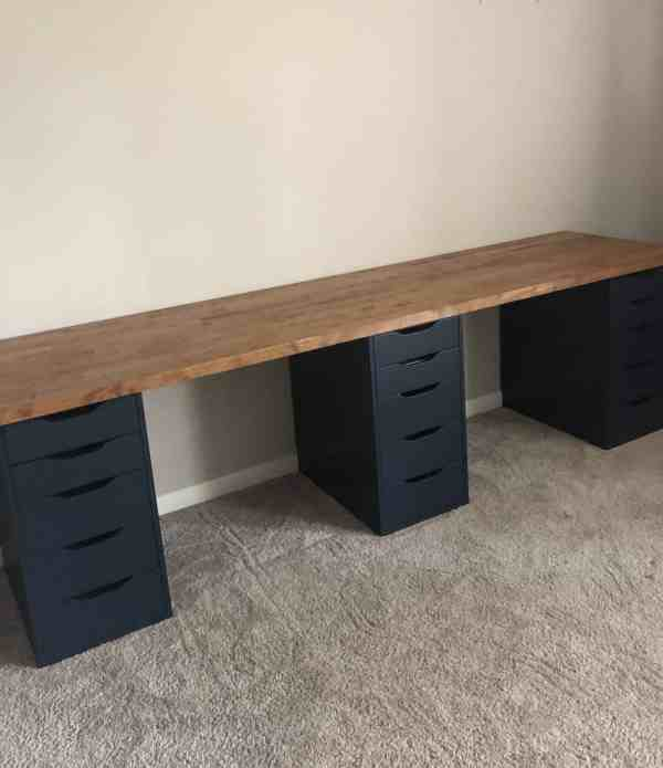 Ikea Desk Hack for Shared Desk Space