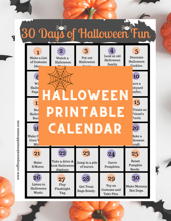 Printable Halloween Activities Calendar