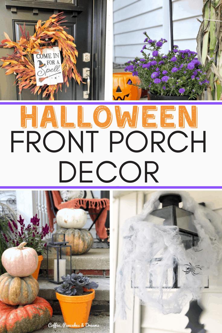 Cute and Cozy Halloween Porch Decor #halloweendecorations #wreath #bats #pumpkins
