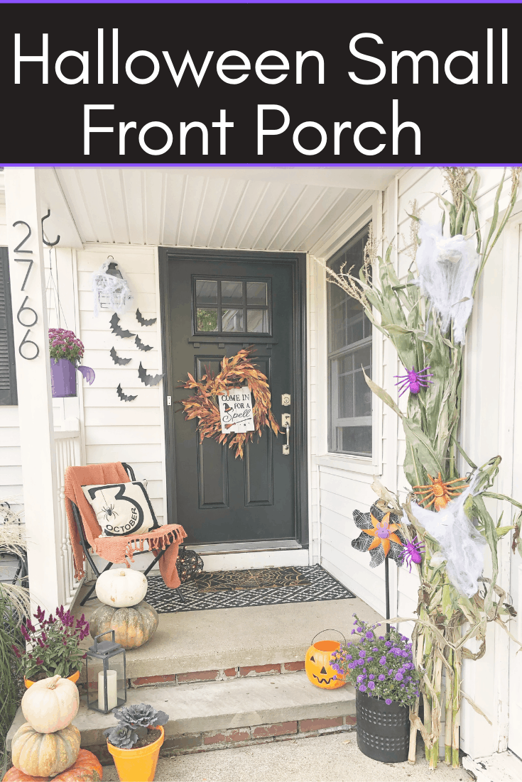 Small Front Porch Halloween Decorations #wreath #dollartree #farmhouse