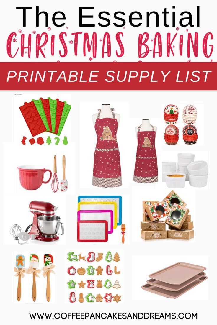 Christmas Baking Essentials Supply List #printable #christmascookies #christmasbaking
