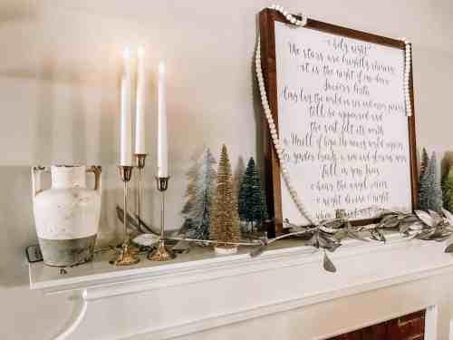 Flameless Taper Candles #christmasdecor #mantle #rusticdecor