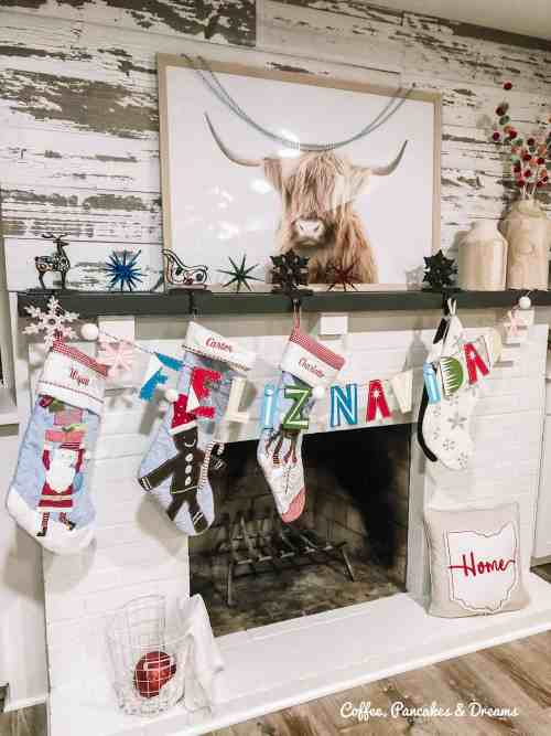 Colorful Christmas Fireplace Mantle
