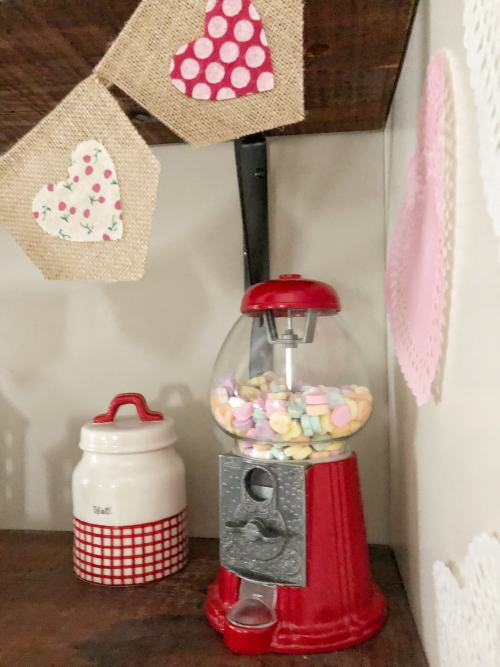 Cute Valentine's Day Decor ideas #coffeebar #gumballmachine #dollarstore