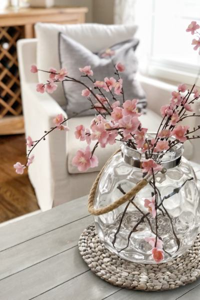 pink floral steps for spring home decor