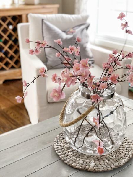 pink floral steps for spring home decor