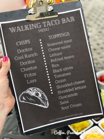 Walking Taco Menu Sign