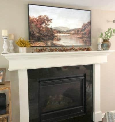 Fall Mantel Decor with TV
